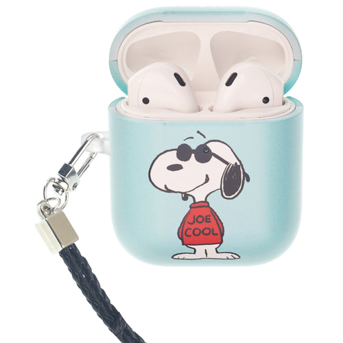 Peanuts AirPods Case Neck Lanyard Hard PC Shell Strap Hole Cover - Happy Snoopy JOE COOL