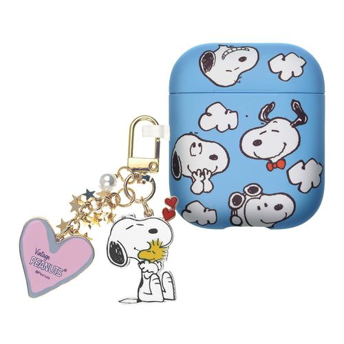 Peanuts AirPods Case Snoopy Key Ring Keychain Key Holder Hard PC Shell Strap Hole Cover - Snoopy Sky