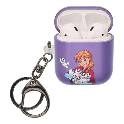 Disney Frozen AirPods Case Key Ring Keychain Key Holder Hard PC Shell Strap Hole Cover [Front LED Visible] - Snow Anna