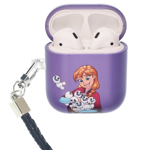 Disney Frozen AirPods Case Neck Lanyard Protective Hard PC Shell Strap Hole Cover - Snow Anna
