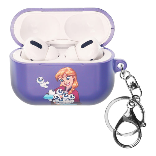 Disney Frozen AirPods Pro Case Key Ring Keychain Key Holder Hard PC Shell Strap Hole Cover - Snow Anna