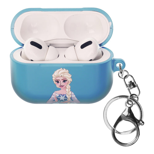 Disney Frozen AirPods Pro Case Key Ring Keychain Key Holder Hard PC Shell Strap Hole Cover - Snow Elsa