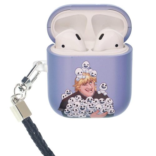 Disney Frozen AirPods Case Neck Lanyard Protective Hard PC Shell Strap Hole Cover - Snow Kristoff
