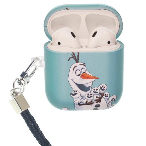 Disney Frozen AirPods Case Neck Lanyard Protective Hard PC Shell Strap Hole Cover - Snow Olaf
