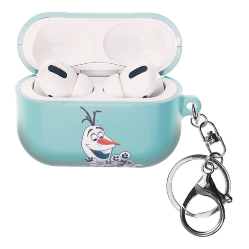 Disney Frozen AirPods Pro Case Key Ring Keychain Key Holder Hard PC Shell Strap Hole Cover - Snow Olaf