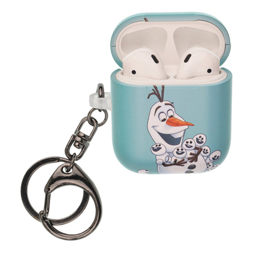 Disney Frozen AirPods Case Key Ring Keychain Key Holder Hard PC Shell Strap Hole Cover [Front LED Visible] - Snow Olaf