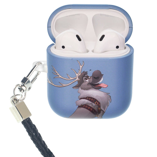 Disney Frozen AirPods Case Neck Lanyard Protective Hard PC Shell Strap Hole Cover - Snow Sven