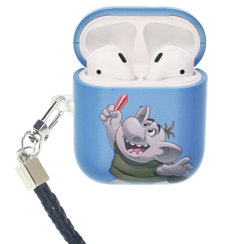 Disney Frozen AirPods Case Neck Lanyard Protective Hard PC Shell Strap Hole Cover - Snow Troll
