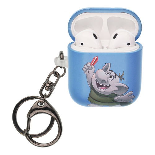 Disney Frozen AirPods Case Key Ring Keychain Key Holder Hard PC Shell Strap Hole Cover [Front LED Visible] - Snow Troll