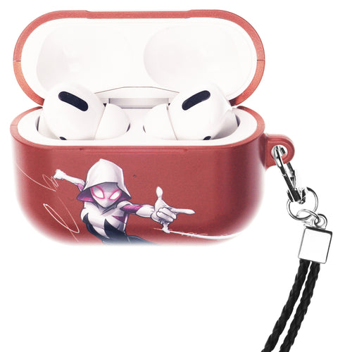 Marvel AirPods Pro Case Neck Lanyard Hard PC Shell Strap Hole Cover - Spider Woman Orange