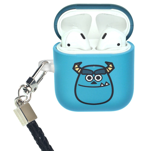 Disney AirPods Case Neck Lanyard Protective Hard PC Shell Strap Hole Cover - Monsters Smile Sulley
