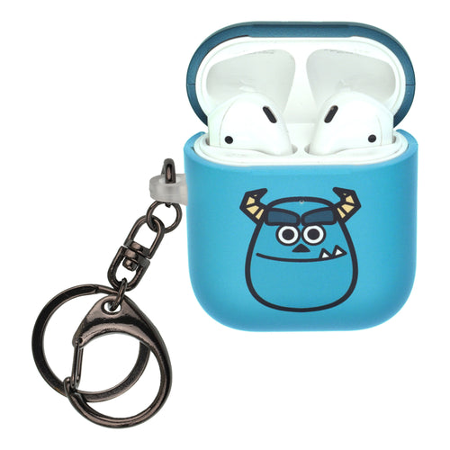 Disney AirPods Case Key Ring Keychain Key Holder Hard PC Shell Strap Hole Cover [Front LED Visible] - Monsters Smile Sulley