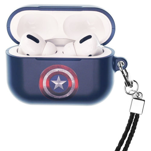 Marvel Avengers AirPods Pro Case Neck Lanyard Hard PC Shell Strap Hole Cover - Symbol Captain America