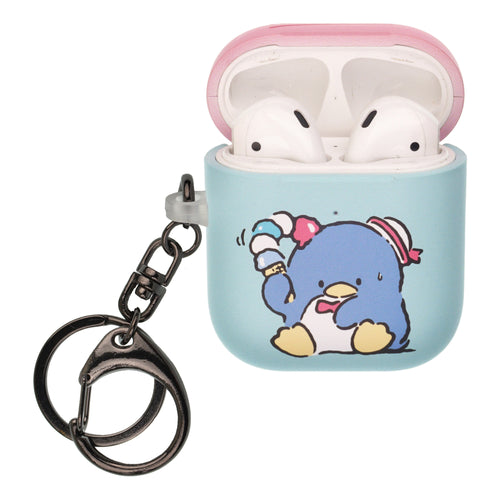 Sanrio AirPods Case Key Ring Keychain Key Holder Hard PC Shell Strap Hole Cover [Front LED Visible] - Tuxedosam