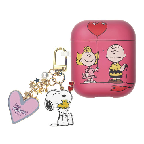 Peanuts AirPods Case Snoopy Key Ring Keychain Key Holder Hard PC Shell Strap Hole Cover Accessories - With Charlie Sally
