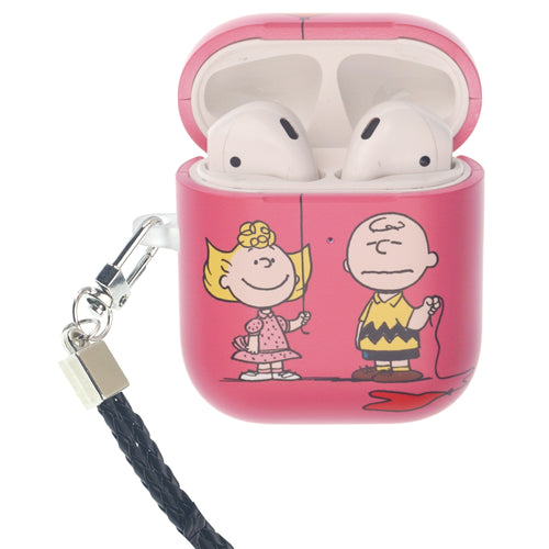 Peanuts AirPods Case Neck Lanyard Hard PC Shell Strap Hole Cover - With Charlie Sally