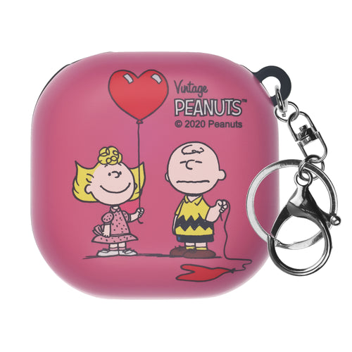 Peanuts Galaxy Buds Live Case (2020) Key Ring Keychain Key Holder Hard PC Shell Cover - With Charlie Sally