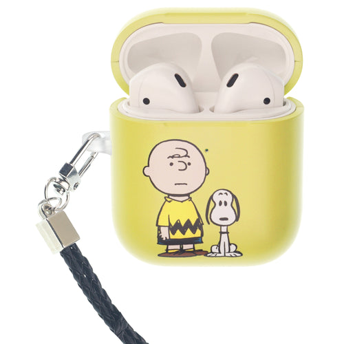 Peanuts AirPods Case Neck Lanyard Hard PC Shell Strap Hole Cover - With Snoopy Charlie