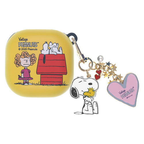 Peanuts Galaxy Buds Live Case (2020) Snoopy Key Ring Keychain Key Holder Hard PC Shell Cover - With Snoopy House