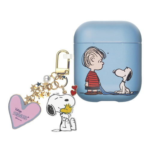Peanuts AirPods Case Snoopy Key Ring Keychain Key Holder Hard PC Shell Strap Hole Cover Accessories - With Snoopy Linus