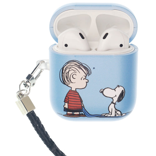 Peanuts AirPods Case Neck Lanyard Hard PC Shell Strap Hole Cover - With Snoopy Linus