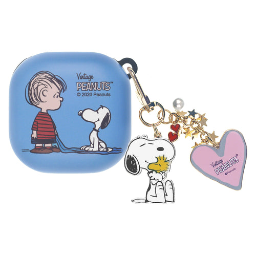 Peanuts Galaxy Buds Live Case (2020) Snoopy Key Ring Keychain Key Holder Hard PC Shell Cover - With Snoopy Linus