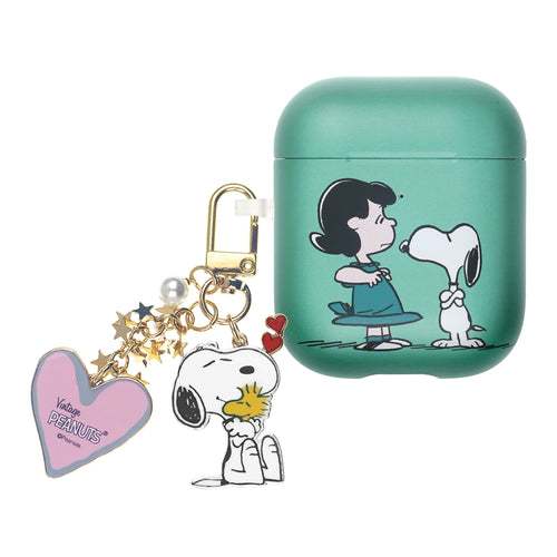 Peanuts AirPods Case Snoopy Key Ring Keychain Key Holder Hard PC Shell Strap Hole Cover Accessories - With Snoopy Lucy