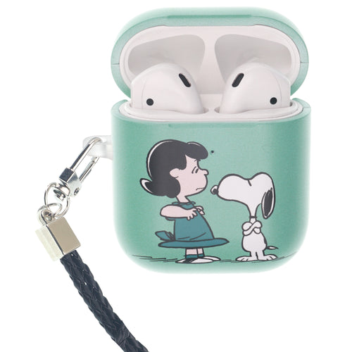 Peanuts AirPods Case Neck Lanyard Hard PC Shell Strap Hole Cover - With Snoopy Lucy