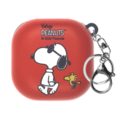 Peanuts Galaxy Buds Live Case (2020) Key Ring Keychain Key Holder Hard PC Shell Cover - With Snoopy Woodstock