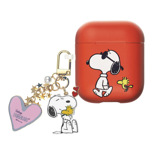 Peanuts AirPods Case Snoopy Key Ring Keychain Key Holder Hard PC Shell Strap Hole Cover Accessories - With Snoopy Woodstock