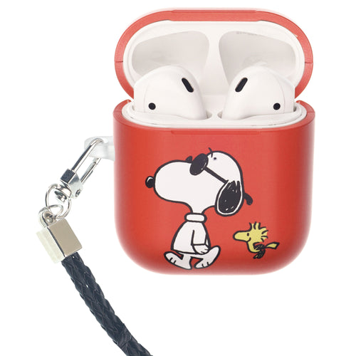 Peanuts AirPods Case Neck Lanyard Hard PC Shell Strap Hole Cover - With Snoopy Woodstock