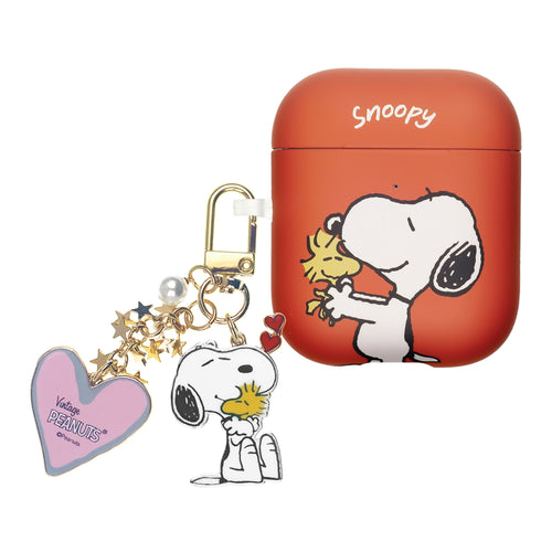 Peanuts AirPods Case Snoopy Key Ring Keychain Key Holder Hard PC Shell Strap Hole Cover - Woodstock In The Hand