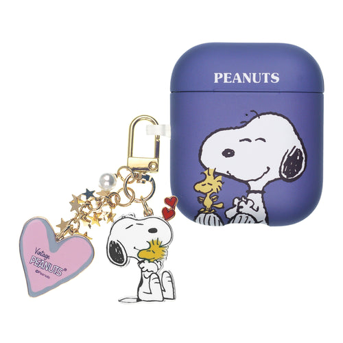 Peanuts AirPods Case Snoopy Key Ring Keychain Key Holder Hard PC Shell Strap Hole Cover - Woodstock On The Feet