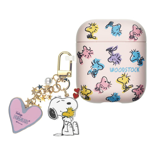 Peanuts AirPods Case Snoopy Key Ring Keychain Key Holder Hard PC Shell Strap Hole Cover - Woodstock Pattern