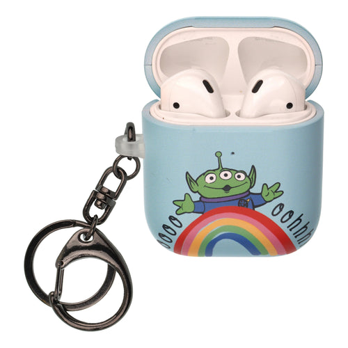 Disney AirPods Case Key Ring Keychain Key Holder Hard PC Shell Strap Hole Cover [Front LED Visible] - Words Aliens
