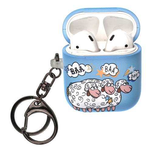 Disney AirPods Case Key Ring Keychain Key Holder Hard PC Shell Strap Hole Cover [Front LED Visible] - Words Bopeep Sheep
