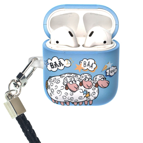 Disney AirPods Case Neck Lanyard Protective Hard PC Shell Strap Hole Cover - Words Bopeep Sheep