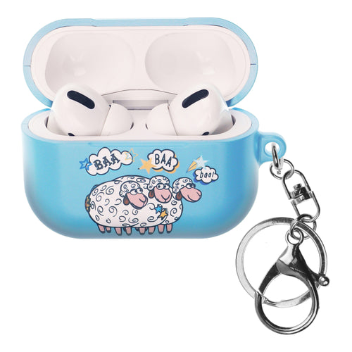 Disney AirPods Pro Case Key Ring Keychain Key Holder Hard PC Shell Strap Hole Cover - Words Bopeep Sheep
