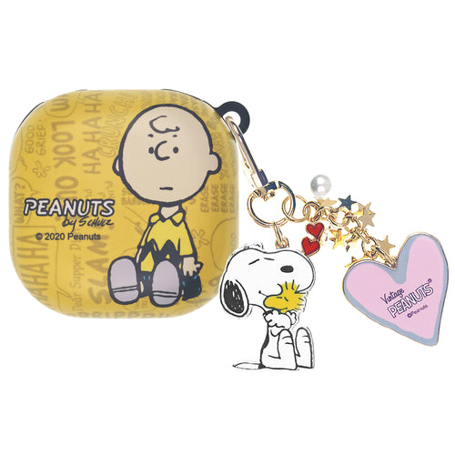 Peanuts Galaxy Buds Live Case (2020) Snoopy Key Ring Keychain Key Holder Hard PC Shell Cover - Words Charlie Brown