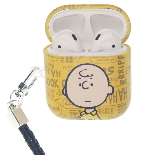 Peanuts AirPods Case Neck Lanyard Hard PC Shell Strap Hole Cover - Words Charlie Brown
