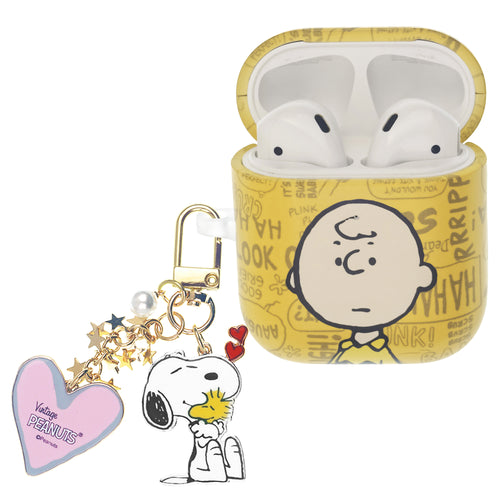 Peanuts AirPods Case Snoopy Key Ring Keychain Key Holder Hard PC Shell Strap Hole Cover - Words Charlie Brown