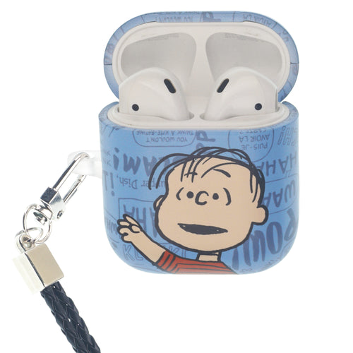 Peanuts AirPods Case Neck Lanyard Hard PC Shell Strap Hole Cover - Words Linus