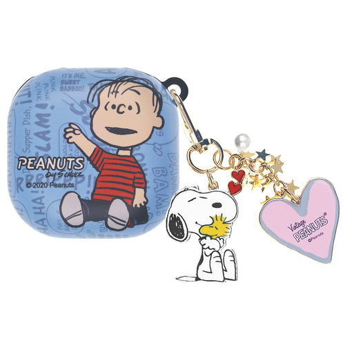 Peanuts Galaxy Buds Live Case (2020) Snoopy Key Ring Keychain Key Holder Hard PC Shell Cover - Words Linus