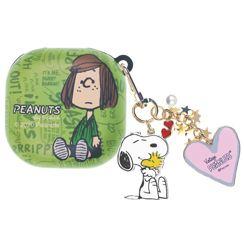 Peanuts Galaxy Buds Live Case (2020) Snoopy Key Ring Keychain Key Holder Hard PC Shell Cover - Words Peppermint