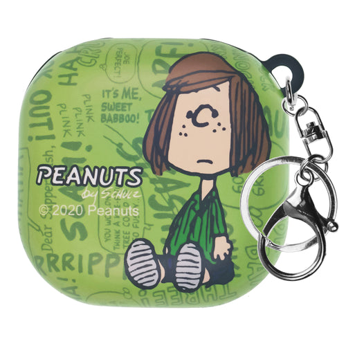 Peanuts Galaxy Buds Live Case (2020) Key Ring AA34Keychain Key Holder Hard PC Shell Cover - Words Peppermint