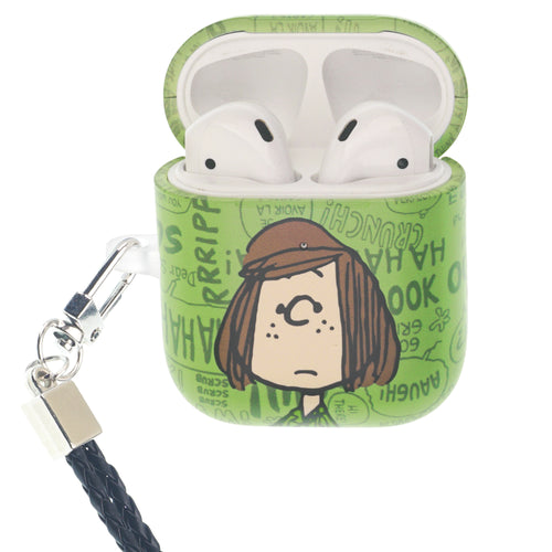 Peanuts AirPods Case Neck Lanyard Hard PC Shell Strap Hole Cover - Words Peppermint