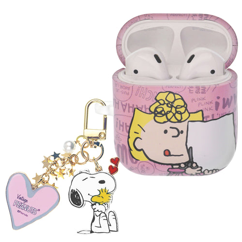 Peanuts AirPods Case Snoopy Key Ring Keychain Key Holder Hard PC Shell Strap Hole Cover - Words Sally