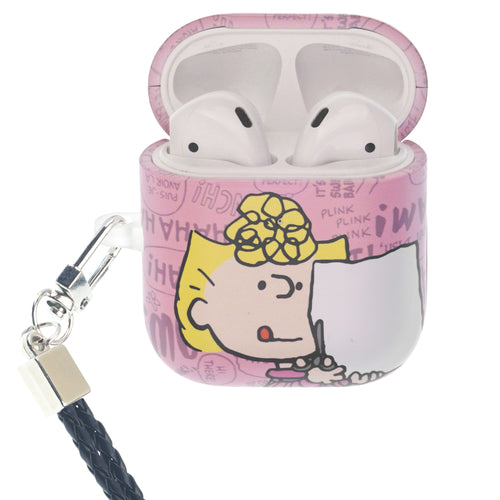 Peanuts AirPods Case Neck Lanyard Hard PC Shell Strap Hole Cover - Words Sally