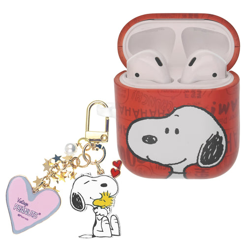 Peanuts AirPods Case Snoopy Key Ring Keychain Key Holder Hard PC Shell Strap Hole Cover - Words Snoopy