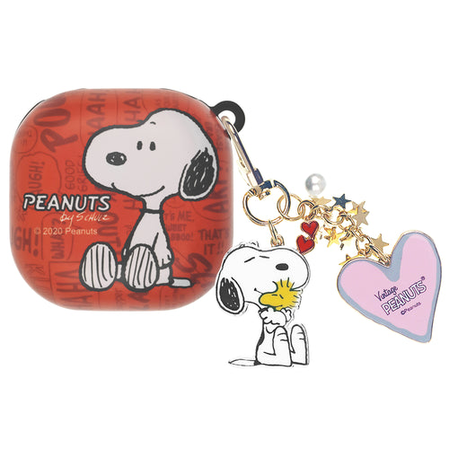 Peanuts Galaxy Buds Live Case (2020) Snoopy Key Ring Keychain Key Holder Hard PC Shell Cover - Words Snoopy